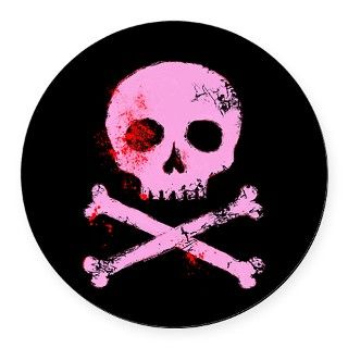 Pink Skull and Bones Round Car Magnet by FoxxyTees