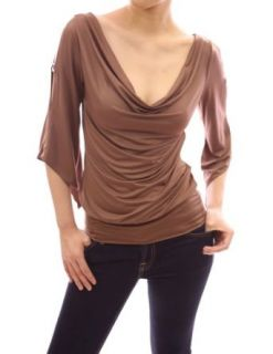 PattyBoutik Sexy Cowl Neck Cut Out Asym Sleeve Casual Blouse Top: Clothing