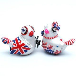 British Flag and US Flag Inspired Love Birds Cake Toppers for wedding blue red and white A00034 Chinese Inspired Love Birds Cake Toppers Wedding Color Scheme Decoration Handmade Ceramic Adorable Wedding Couple Gifts: Everything Else
