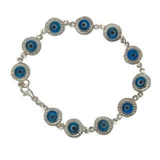 "Jewish Jewelry, Woman Bracelet, Evil Eye Design. Blue Colored Stone. 8"" Long. Great Gift for: Bat Mitzvah Shabbat Passover Wedding Mother's Day Birthday Valentine Anniversary Bridesmaid Graduation: Everything Else"