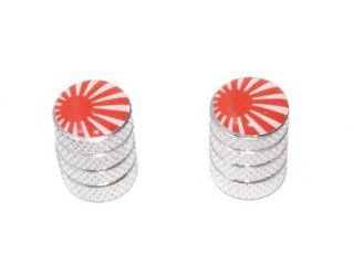Japanese Flag   Rising Sun Motorcycle Bike Bicycle   Tire Rim Schrader Valve Stem Caps   Aluminum: Automotive