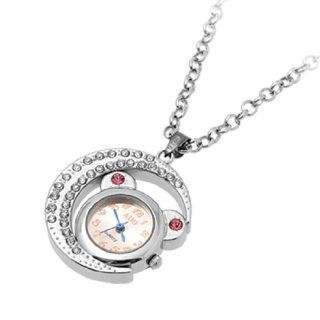 Lady Cat Moon Design Arabic Number Dial Necklace Watch: Watches