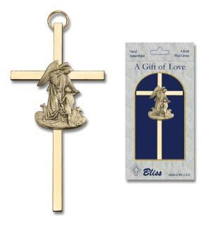 Decorative Wall Crosses   4 inch Antique Finish Gold Guardian Angel on a Polished Brass Cross: Jewelry