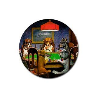 Dogs Playing Poker Round Rubber Coaster set 4 pack Great Gift Idea: Everything Else