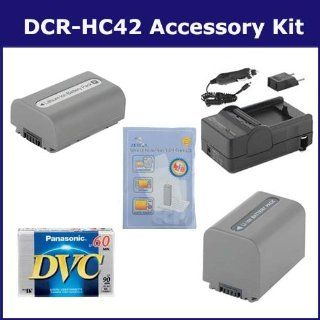 Sony DCR HC42 Camcorder Accessory Kit includes SDM 109 Charger, SDNPFP50 Battery, DVTAPE Tape/ Media, SDNPFP70 Battery, ZELCKSG Care & Cleaning  Camera & Photo