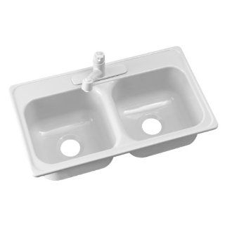 Lyons Industries DKS22CB4 3.5 Black 33 Inch by 19 Inch Manufactured/Mobile Home Acrylic 8 Inch Deep Kitchen Sink with Step Down Ledge, Four Hole   Double Bowl Sinks