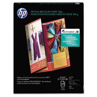 HP   Inkjet Tri Fold Brochure Paper, 103 Brightness, 48lb, 8 1/2 x 11, White, 100/PK   Sold As 1 Pack   Ideal for impressive three panel brochures  pre scored for easy folding : Office Products