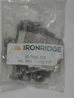 "12 IRONRIDGE 29 7000 108 KIT MILL FINISH MID CLAMP CLAMPS 2.5"" 4 PIECE SECURE MOST POPULAR SOLAR PV MODULES IN SOLAR RACKING SYSTEM. ALUMINUM. MID CLAMPS ARE UNIQUELY DESIGNED TO MINIMIZE SPACING BETWEEN SOLAR PV MODULES AND THE HELP MAXIMIZE POWER DE"