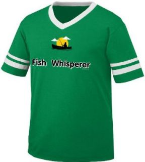 Fish Whisperer Mens Ringer T shirt, Funny Fishing Fisherman in Boat Men's V neck Shirt: Clothing