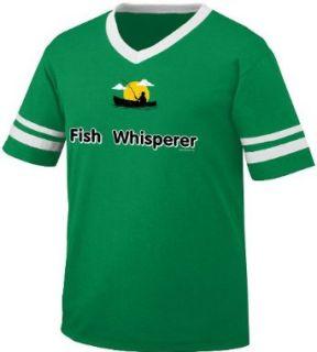 Fish Whisperer Mens Ringer T shirt, Funny Fishing Fisherman in Boat Men's V neck Shirt: Clothing
