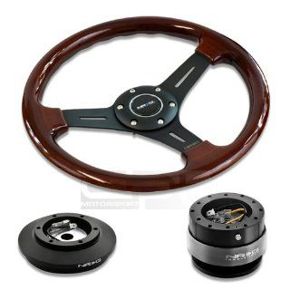 """NRG Innovations 13"""" 330mm Deep Dish Style Wood Grain Black Spokes Racing Steering Wheel Combo with 6 Hole Short Hub Adapter with Gen 2.0 Orange Quick Release Kit SRK 121H Automotive"""