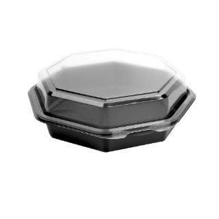 "Solo 865043 PS94 Creative Carryouts OctaView Perfect Pak Polystyrene Plastic Hinged Octagon Cold Food Container, 7 115/128"" Length x 7 1/2"" Width x 3 25/128"" Height, Black/Clear (Case of: Industrial & Scientific"