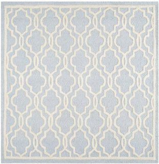 Safavieh Cambridge Collection CAM131A Handmade Wool Square Area Rug, 6 Feet, Light Blue and Ivory