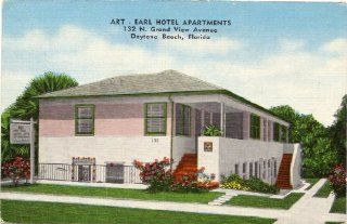1950s Vintage Postcard Art   Earl Hotel Apartments (132 N. Grand View Avenue) Daytona Beach, Florida: Everything Else