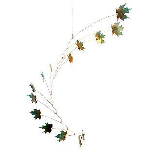 Maple Leaves Spinning Copper Mobile for Indoor or Outdoor, Large 14 Leaf Version : Wind Sculptures : Patio, Lawn & Garden