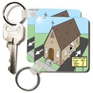 kc_2600_1 Rich Diesslins Funny Religious Light Cartoons   Drive Through Church   Key Chains   set of 2 Key Chains: Clothing