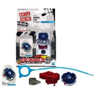 Hasbro Year 2012 Beyblade Metal Fury Performance Battle Tops   Balance TR145W2D B 145 SPIRAL FOX with Face Bolt, Fox Energy Ring, Spiral Fusion Wheel, TR145 Spin Track, W2D Performance Tip and Ripcord Launcher Plus Online Code: Toys & Games