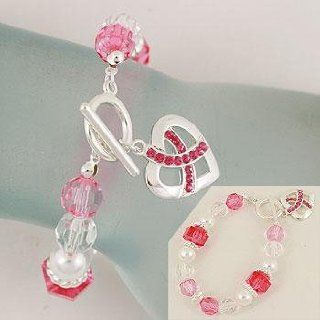 Bracelet ~ Breast Cancer ~ Pink Ribbon Heart Charm ~ White/Pink/Clear Beads: Everything Else