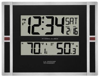 La Crosse Technology 513 149 11 inch Atomic digital wall clock with temperature   Atomic Clocks With Indoor Outdoor Temperature