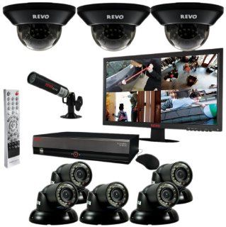 Revo R164D3GT5GM21 4TFC 16 Channel 4TB DVR Surveillance System with Eight 700TVL 100 Feet Night Vision Cameras, 21.5 Inch Monitor and Free Bonus Covert Camera (Black): Camera & Photo