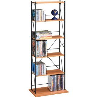 Atlantic Oasis 66835425 170 CD/115 DVD/BluRay/Games Wire Side Accent; 5 Shelves (Honey Oak and Black): Electronics