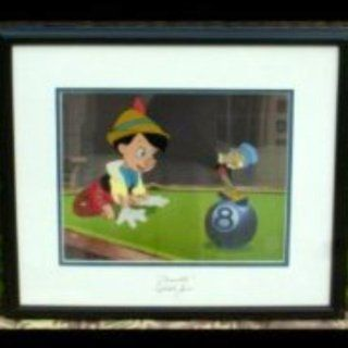 "WDCC Pinocchio & Jiminy Cricket ""Behind The Eight Ball"" SS By The Voice Of Pinocchio ""Dickie Jones"" Framed Sericel Cel W/C.O.A. Rare Limited Edition 2500: Everything Else"