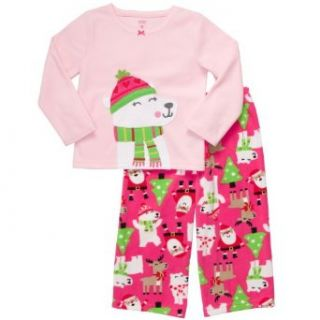 Carter's Girls 2 Pc Pajama Set Holiday Santa Bears Microfleece Pj's (6 kids): Clothing