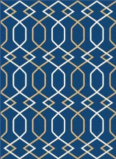 Universal Rugs 1087 Contemporary Area Rug, 7 Feet 10 Inch by 10 Feet 3 Inch, Navy