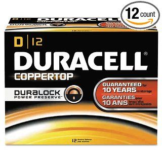 Duracell CopperTop Alkaline Batteries with Duralock Power Preserve Technology, D, 12/Pack: Industrial & Scientific