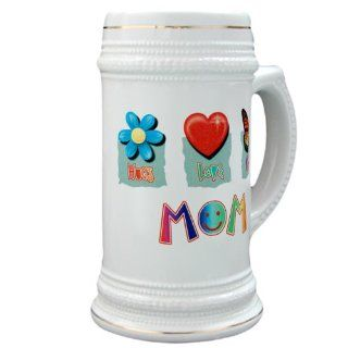 Stein (Glass Drink Mug Cup) Mom Hugs Flower Love Heart and Kisses Butterfly: Everything Else