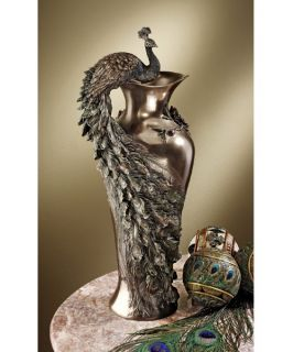 Design Toscano 19.5H in. Peacock Centerpiece Sculptural Vase   Table Vases