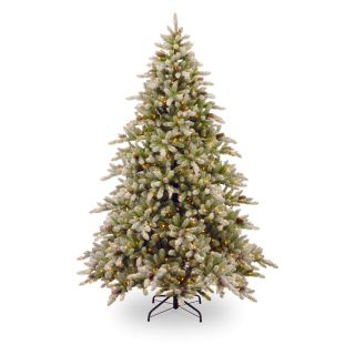 7.5 ft. Snowy Concolor Fir Hinged Pre Lit Christmas Tree with Snowy Pine Cones   Christmas Trees