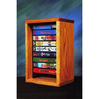 The Wood Shed Solid Oak Desktop / Shelf 10 VHS Tape Media Cabinet with Individual Locking Slots   Media Storage