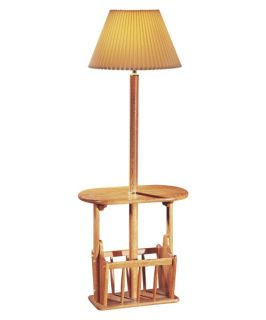 Anthony California Aditi Oak Floor Lamp with Magazine Rack   Floor Lamps
