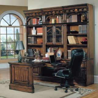 Parker House Barcelona 7 Piece Bookcase with Peninsula Desk   Antique Vintage Walnut   Bookcases