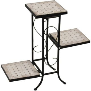 4D Concepts 3 Tier Plant Stand with Travertine Top   Tiered Plant Stands
