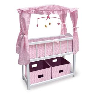 Badger Basket Pink Gingham Canopy Doll Crib with Baskets, Bedding, and Mobile   Baby Doll Furniture