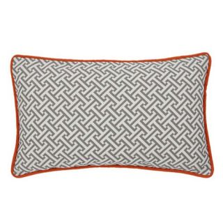 Jiti Maze Grey / Orange 20 x 12 Rectangle Outdoor Pillow   Outdoor Pillows