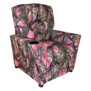 Dozydotes Kid Recliner with Cup Holder   Camouflage Pink   True Timber Fabric   Kids Recliners