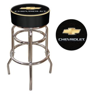 Chevy Bow Tie Logo 30 in. Padded Backless Swivel Bar Stool   Bistro Chairs