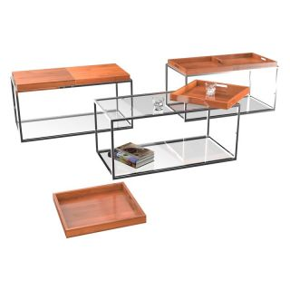 Convenience Concepts Palm Beach Rectangle Bamboo Metal and Glass Coffee Table with Removable Trays   Coffee Tables
