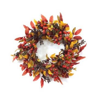 18 in. Blue Berry and Leaves Wreath   Wreaths