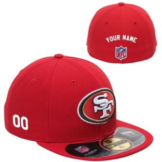 New Era San Francisco 49ers Mens Customized On Field 59FIFTY Football Structured Fitted Hat   Red