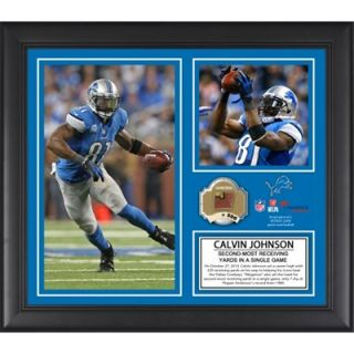 Calvin Johnson Detroit Lions 329 Receiving Yards Record Framed 15 x 17 Collage with Game Used Ball   Limited Edition of 500