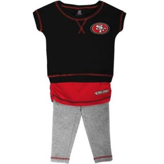 San Francisco 49ers Infant Girls Crew T Shirt & Leggings Set   Black/Scarlet/Ash