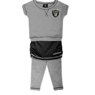 Oakland Raiders Infant Girls 2 Piece Crew T Shirt & Leggings Set   Ash/Black/Ash