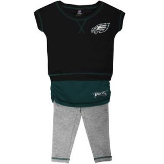 Philadelphia Eagles Infant Girls Crew T Shirt & Leggings Set   Black/Midnight Green/Ash