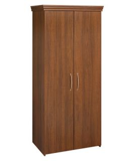 Black & Decker Tall 2 Door Wardrobe with Crown Molding  Walnut   Closet Organizers