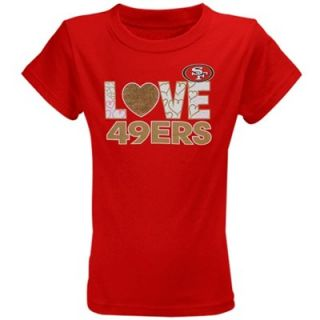 San Francisco 49ers Youth Girls Feel the Love T Shirt   Scarlet