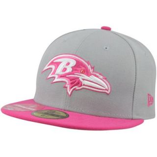 New Era Baltimore Ravens Breast Cancer Awareness On Field Player 59FIFTY Fitted Hat   Gray/Pink